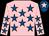 Pink, royal blue stars, royal blue cap, pink star (Ms Christine Thomas & Mr Jim Hoyland)