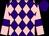 Purple and pink diamonds, pink sleeves, purple armlets, purple cap (Mrs Sarah Drysdale)