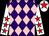 Purple and pink diamonds, white sleeves, red stars, white cap, red star (Harlequin Direct Ltd)
