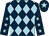 Dark blue and light blue diamonds, dark blue sleeves, light blue stars, dark blue cap, light blue star (The Blue Harlequin Racing Club)
