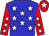 Blue, white stars, red, white stars sleeves, red, white star cap (Fern Circle Stables, Stud Tnt, Old Friends)
