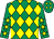 Emerald green and yellow diamonds, emerald green sleeves, yellow stars (Robin Holleyhead)
