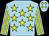 Light blue, yellow stars, striped sleeves, light blue cap, yellow diamonds (Colm Herron)