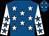 Royal blue, white stars, white sleeves, royal blue stars (Mrs Nicola Thorne)
