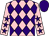 Pink and purple diamonds, pink sleeves, purple stars, purple cap (Mr Tony Betteridge)