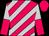 Cerise & silver diagonal stripes, silver & cerise halved sleeves, cerise cap (Mr & Mrs Ben Wong Chung Mat)