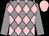 Grey and pink diamonds, grey sleeves, pink cap (P Fellous)