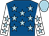Royal blue, light blue stars, white sleeves, light blue stars and cap (Mr P Gleeson & Goldrush Thoroughbreds)