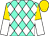 Aqua, white diamonds, gold and white halved sleeves, gold cap (Corral 703 Llc)