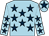 Light blue, dark blue stars, light blue cap, dark blue star (Burns Smyth Studholme)