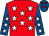 Red, white stars, royal blue sleeves, white stars, royal blue cap, red stars (J Swanson)