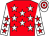 Red, white stars, white sleeves, red stars, white & red hooped cap (Winning Ways Iontach Syndicate)