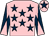 Pink, dark blue stars, dark blue and pink diabolo on sleeves, pink cap, dark blue star (Pineapple Stud, Amanda Turner & Ptnr)