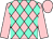 Pink, aqua diamonds, aqua band on sleeves, pink cap (Merryman, Elizabeth M And Ellendale Racing Llc)