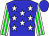 Blue, white stars, white and green stripes on sleeves, blue cap (Finest Racing Stable And Barroca, Leroy)