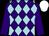 Purple & light blue diamonds, purple sleeves, white cap (Mrs Patricia Mullane)