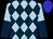 Light blue, dark blue diamonds, light blue & dark blue halved sleeves, blue cap (Sherry Rudolph)