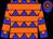 Blue, orange diamonds, orange hoops (Lee Couchenour)