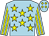 Light blue, yellow stars, striped sleeves, light blue cap, yellow diamonds (Colm Herron)