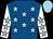 Royal blue, light blue stars, white sleeves, light blue stars and cap (Mr P Gleeson & Goldrush Thoroughbreds)