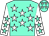 Aqua, white stars, aqua stars on white sleeves (Walter Bates)