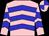 Pink, blue chevrons, quartered cap (Mme M O'neill/d Barlow)
