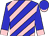 Blue and pink diagonal stripes, one pink sleeve, blue cuff, one blue sleeve, pink cuff, blue cap, pink peak (Messrs Ravi Naidoo, L S Naidoo, Sagren Naidoo, A E)