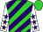 Lime green and purple diagonal stripes, white sleeves, purple stars, lime green cap (Reis, Mary Beth And Reis, Gary)