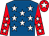 Royal blue, white stars, red sleeves, white stars, red cap, white star (Fern Circle Stables)