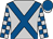 Silver, royal blue crossed sashes, checked sleeves, royal blue cap, silver peak (Tni Racing Trust (nom: Mr S Naidoo))