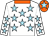 White, sky blue stars, orange collar and cap, sky blue star (Mr Mervyn Singh)