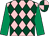 Pink and dark green diamonds, emerald green sleeves, dark green and pink quartered cap (Owners For Owners: Sunday Prospect)
