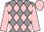 Grey and pink diamonds, pink sleeves and cap (Mrs Perle O'Rourke)
