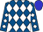 Royal blue and white diamonds, blue cap (Jerry Durant)