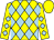 Yellow and light blue diamonds, light  blue diamonds on yellow sleeves, yellow cap (James Yeh)