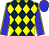 Dark blue and yellow diamonds, blue sleeves, yellow seams, blue cap (Bckh Stable And Baffert, Natalie J)