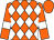 Orange, white diamonds, white bars on sleeves, orange cap (Gary Snoonian)