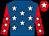 Royal blue, white stars, red sleeves, white stars, red cap, white star (Fern Circle Stables)