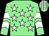 Light green, white stars, chevrons on sleeves, striped cap (Ever Equine & J S Moore)