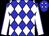 Blue and white diamonds, white sleeves, blue seams (Kingsport Farm)