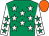 Emerald green, white stars, white sleeves, emerald green stars, orange cap (Let's Get Lucky Racing Club)