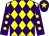 Yellow and purple diamonds, purple sleeves, yellow spots, purple cap, yellow star (The Snook Family & Partner)