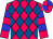 Cerise, Royal Blue Diamonds, Cerise Sleeves, Blue Hoops, Cerise And Blue Quartered Cap (Tri County Stables)