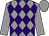Grey and purple diamonds, grey sleeves and cap (Global Racing Club & Mrs E Burke)