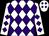 White, purple diamonds on front, purple diamond 'mc' on back, purple diamonds on sleeves (Chris Daley)