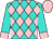 Turquoise and pink diamonds, pink cuffs on turquoise sleeves, pink cap (Tm Thoroughbred Racing, Llc)