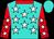 Turquoise, white stars, red collar and sleeves, white stars, turquoise cap (Messrs F Bronkhorst, Lucky Houdalakis & K G Viljoe)