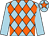 Light blue and orange diamonds, light blue sleeves, light blue cap, orange star (J C & S R Hitchins)