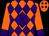 Orange, purple diamond, purple diamonds and cuffs on sleeves (Jason Thompson)