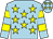 Light blue, yellow stars, hooped sleeves and stars on cap (Mrs Samantha Powell)